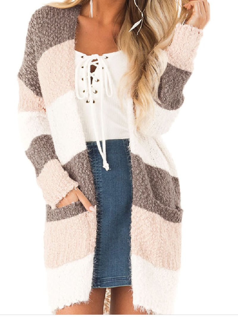 Women's Long-sleeved Stitching Contrast Cardigan Jacket
