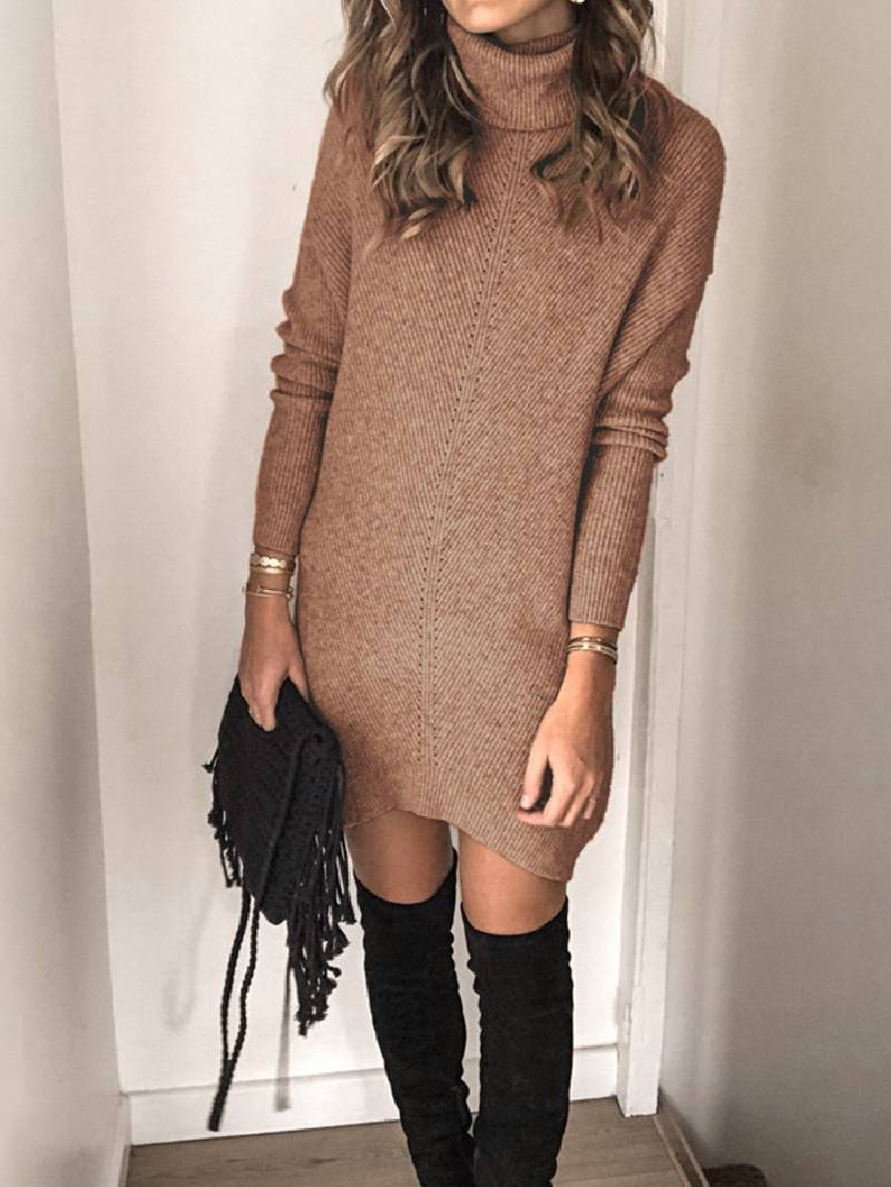 Lapel cutout pullover sweater dress