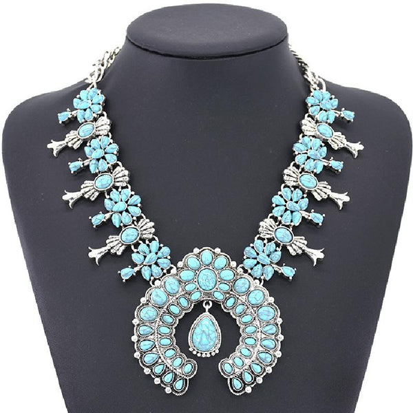 Fashion Bohemian Style Turquoise Flower Pendant Alloy Necklace