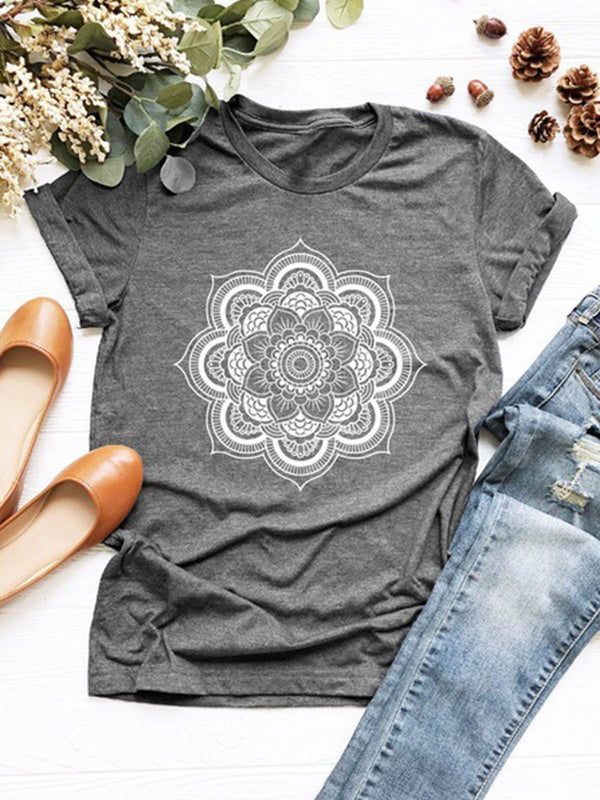 Lotus print short sleeve T-shirt