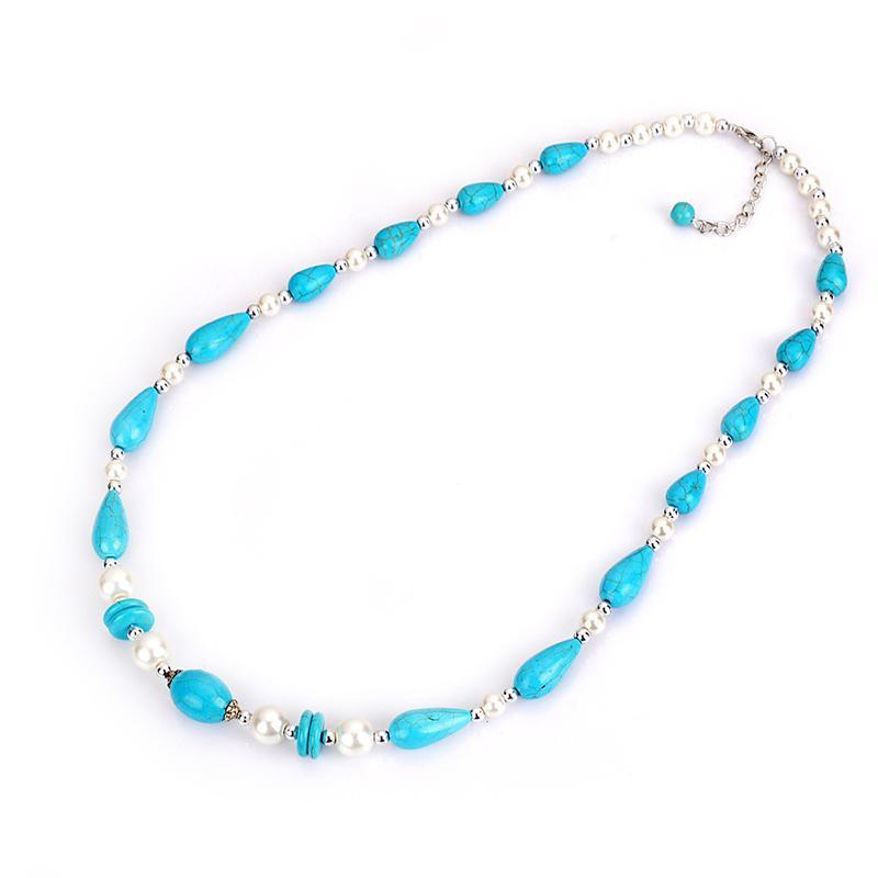 Simple Necklace with Turquoise Pearl Beads