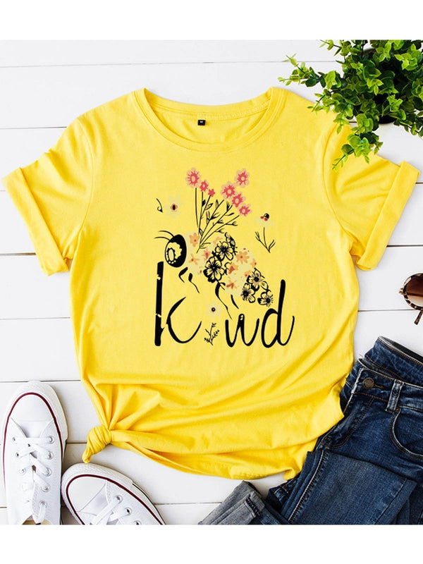 Loose round-neck bee letter print short-sleeved t-shirt
