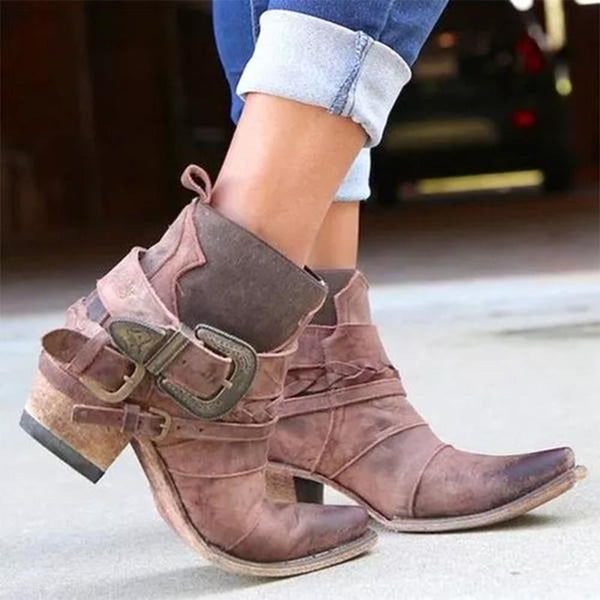 Women's Faux Leather Buckle Ankle Boots