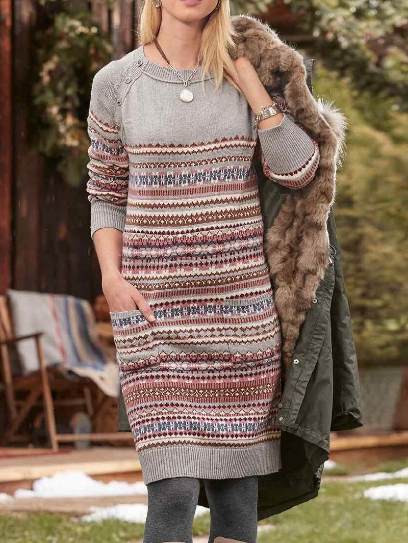 Casual Round Neck Long Sleeve Pocket Knitted Dress