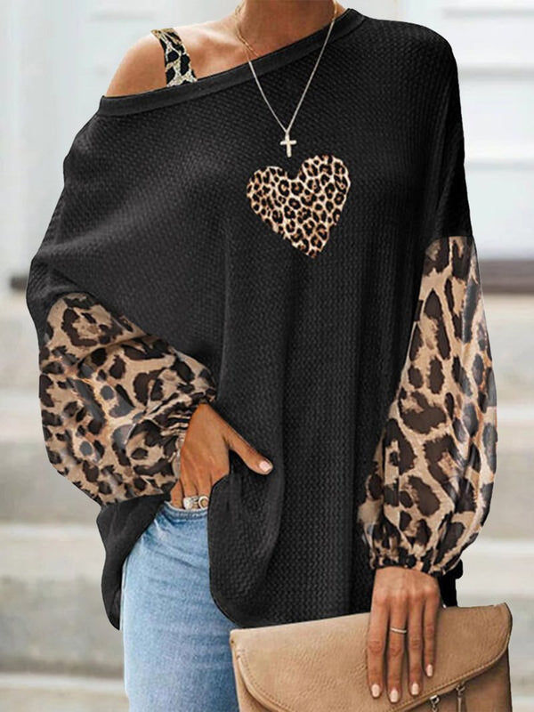 Women's solid color leopard print strapless long-sleeved tops