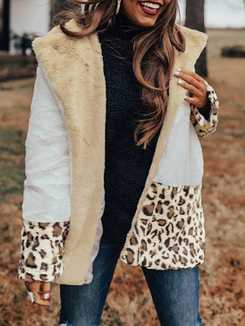 Casual Lapel Plush Contrast Stitching Leopard Coat