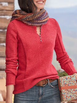Casual Round Neck Long Sleeve Button Solid Color Knitted Sweater