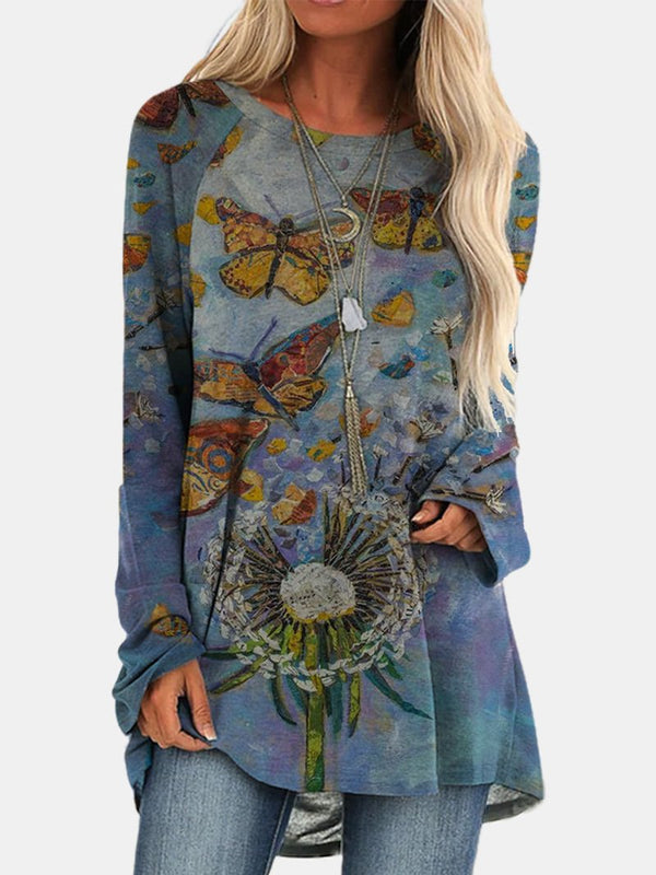 Fashion Loose Butterfly Print Long Sleeve Top