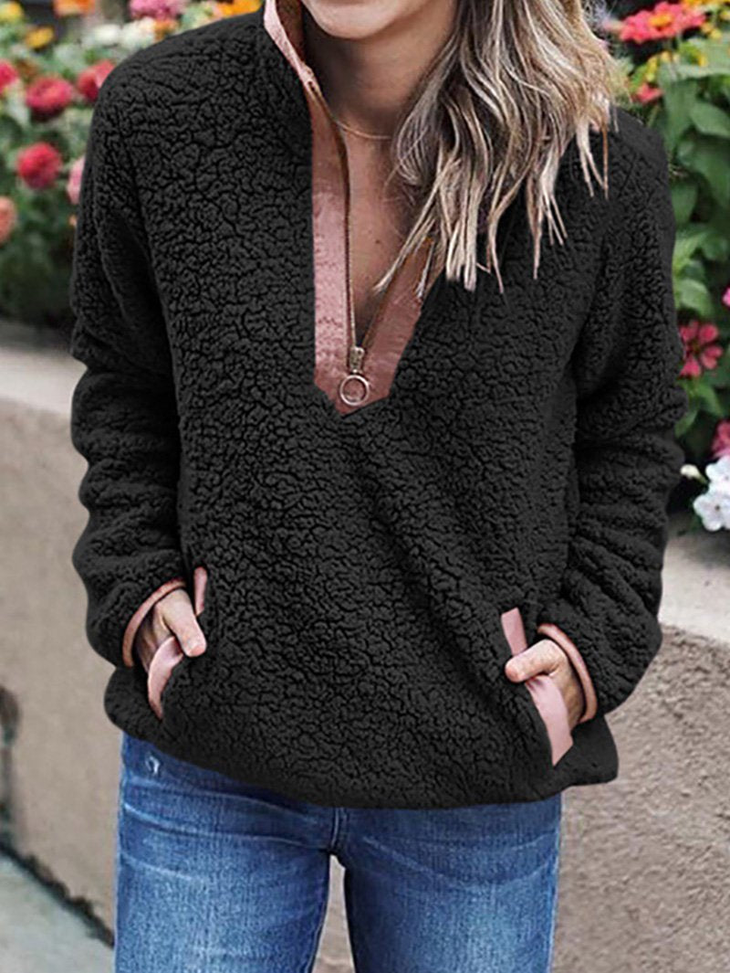 Plush casual pullover sweater