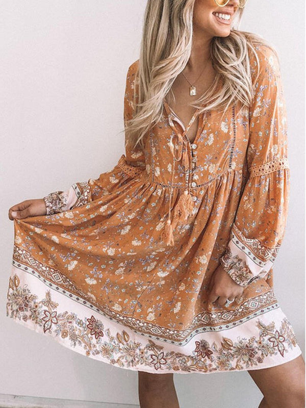 Women's Resort Print V-neck Long-sleeved Dress