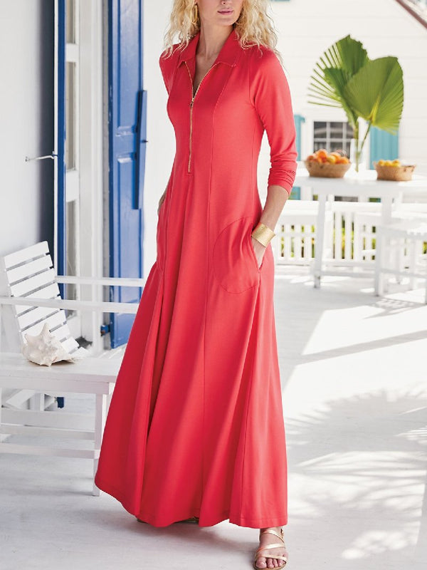 New Long-sleeved Solid Color Mid-length Knitted Dress