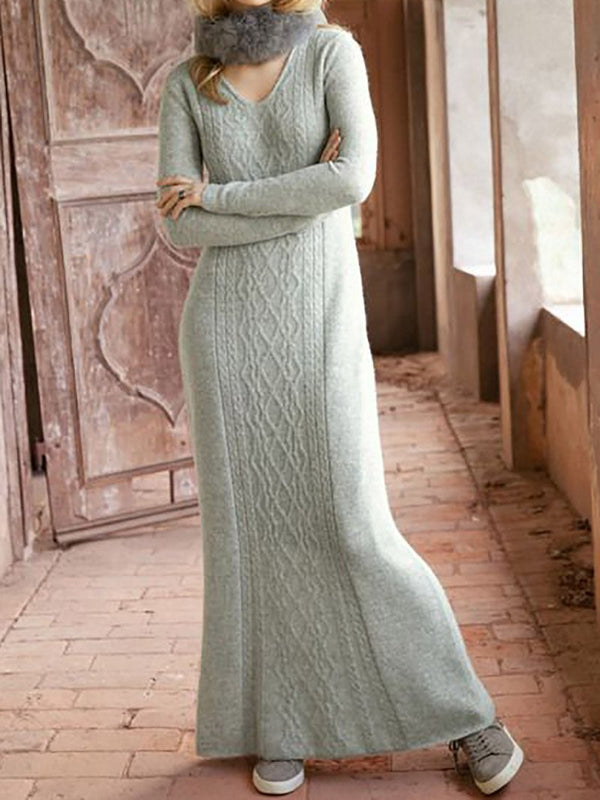 Women's Casual Classic Winter Knitted Sweater Long Dress