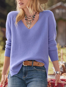 Casual Solid V-neck Long Sleeve Sweater