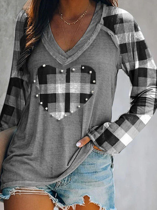 Women's Plaid Heart Long Sleeve Tops