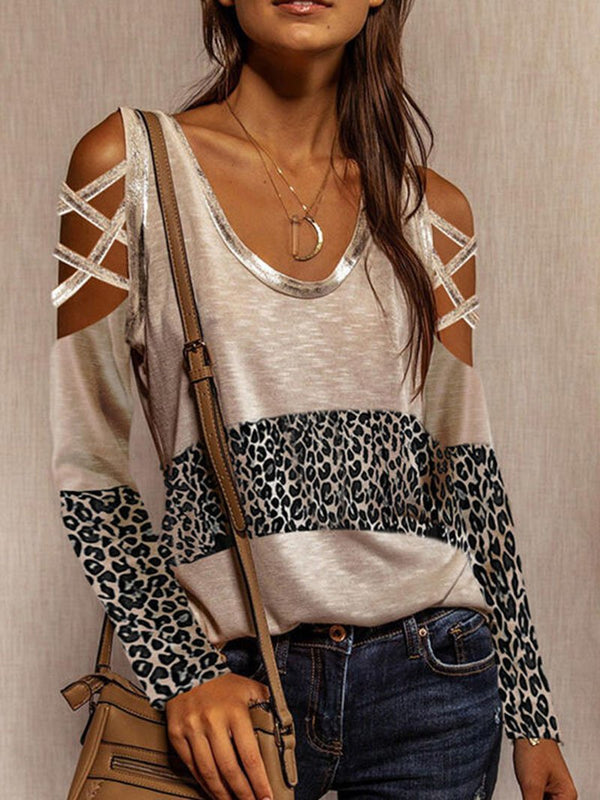 Women's Leopard Print Color Blocking Strapless Long-sleeved Tops
