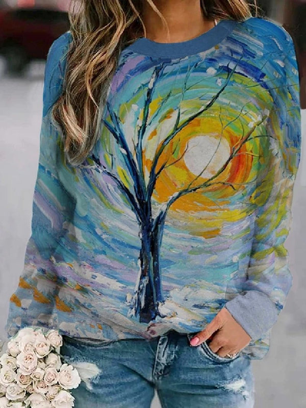Autumn Winter New Style Tie-dye Printed Casual Round Neck Loose Sweatshirt