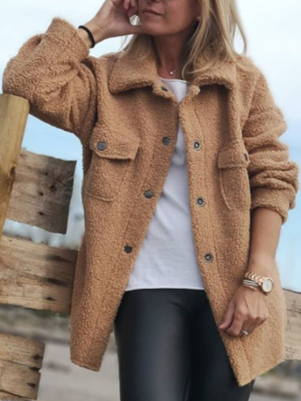 Warm fleece blazer for fall and winter