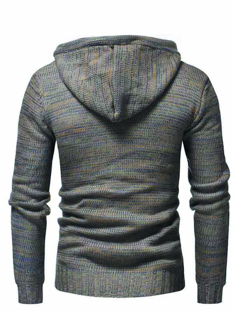 Colorblock Double-breasted Hooded Knitted Sweater
