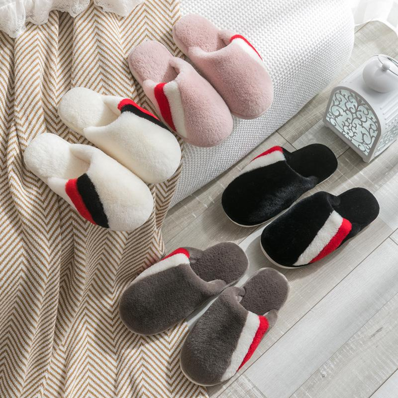 Home Warm Indoor Non-slip Thick Bottom Cotton Slippers
