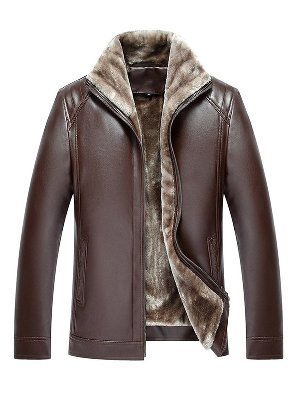 Autumn and Winter Leather Jacket Men Pu
