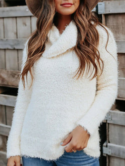 Warm Knit Sweater Top with Overlapping Collar