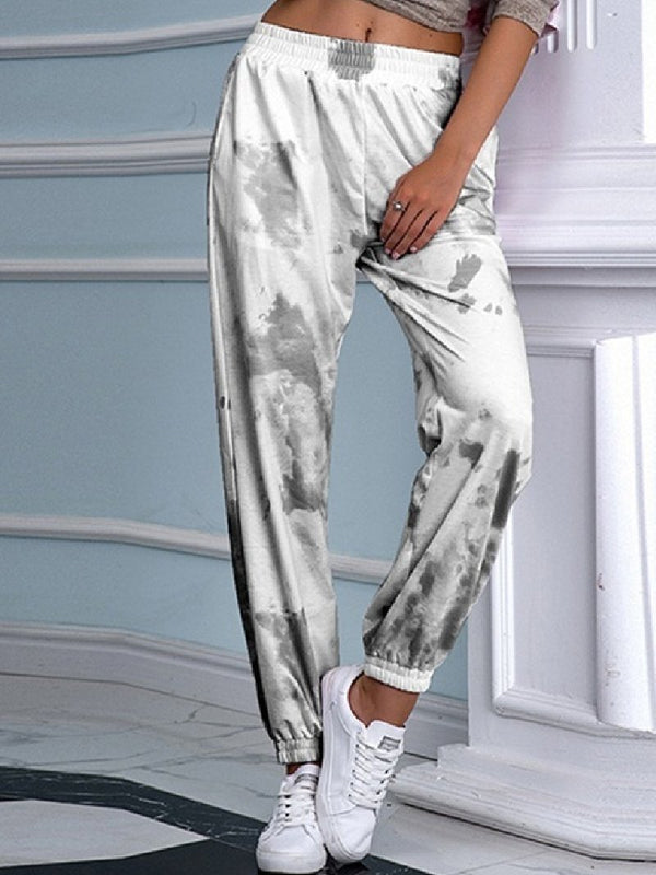 Women's Tie-dye Printed Elastic Waist Casual Harem Bottoms