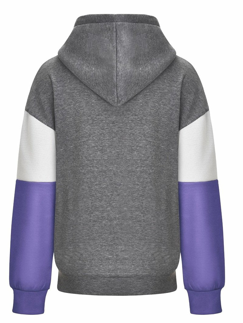 Women's Sweatshirt with Cap Sleeves and Color Blocking