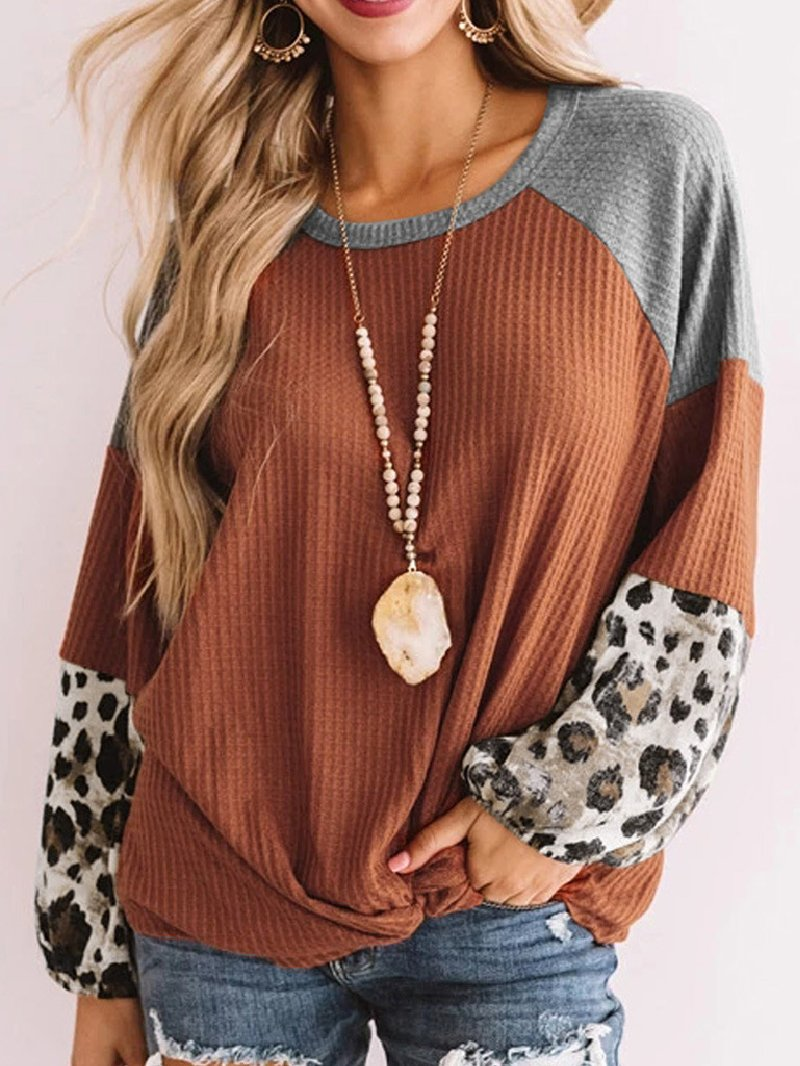 Women's Plus Size Stitching Knitted Loose Casual Top