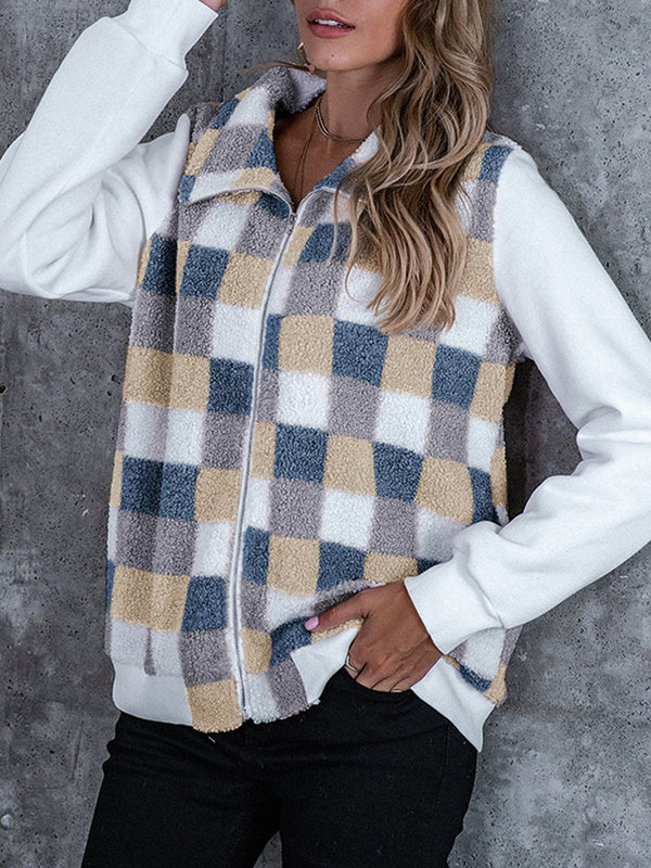 Women's Colorful Plaid Loose Casual Fleece Jacket