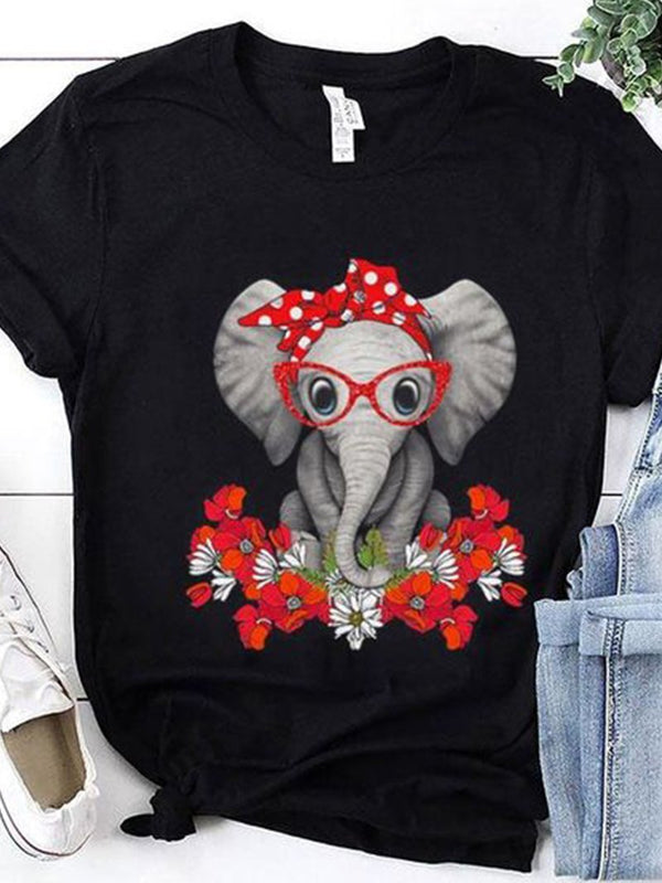 Cute Elephant Print T-Shirt with Flowers