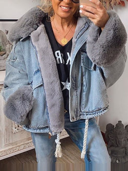 Short denim jacket with warm woolen balls for fall and winter
