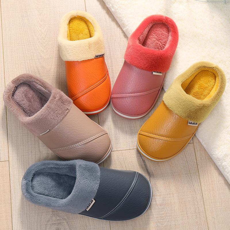 Waterproof Leather Home Thick-soled Comfortable Padded Slippers