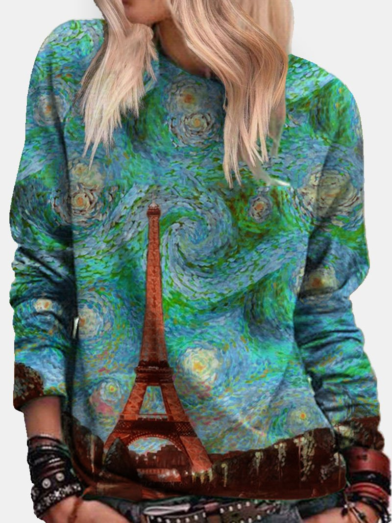 Tower Oil Painting Print Long Sleeve Sweatshirt Tops