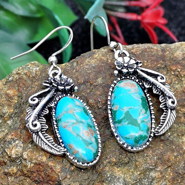 European and American Fashion Color Floral Turquoise Earrings