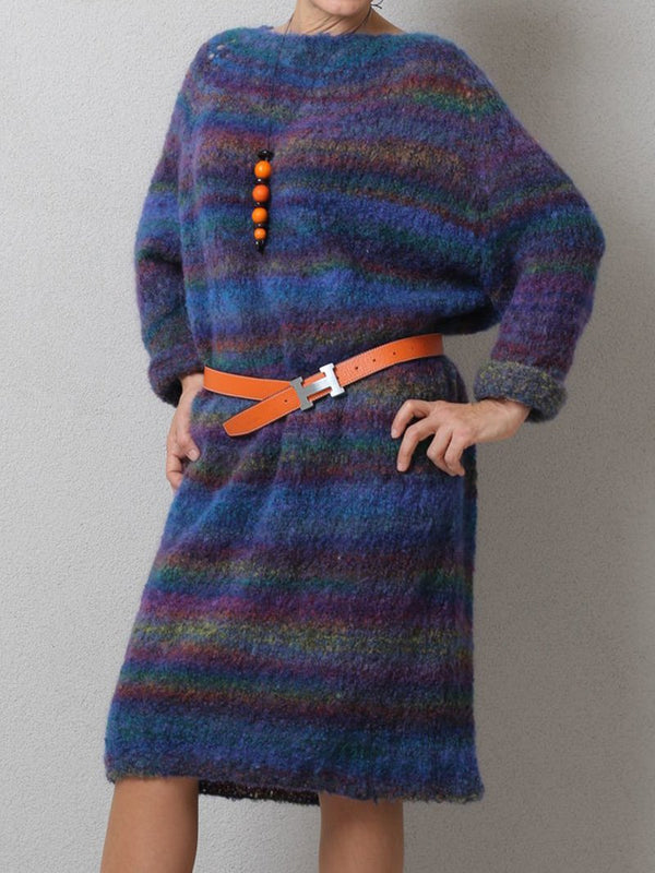 Fall & Winter Vintage Colorful Striped Sweater Dress