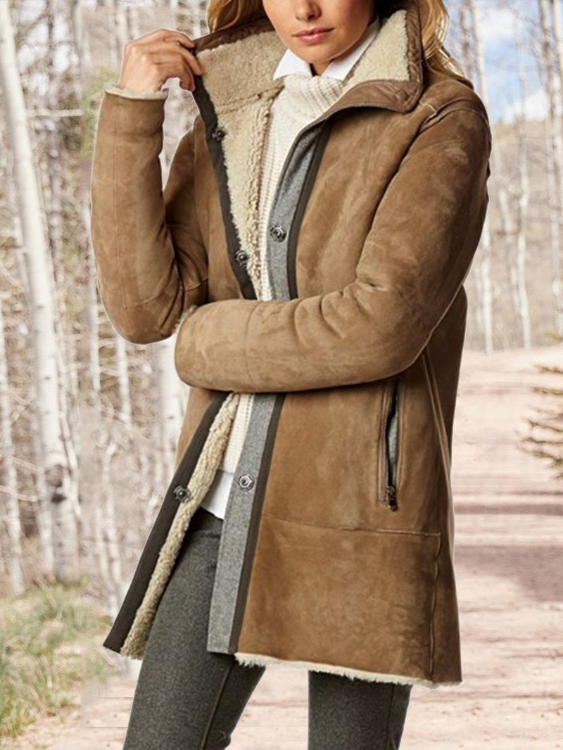 Women's Fall and Winter Fleece Casual Mid-length Jacket