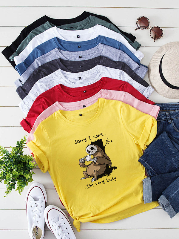 loose collar animated bear short sleeve t shirt