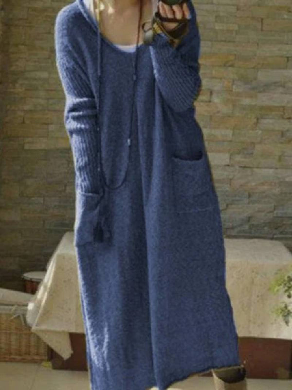 V-neck Pullover Loose Long Knitted Dress