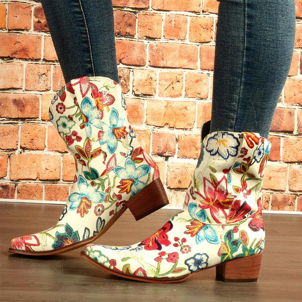 Floral Women's Boots In Ethnic Style