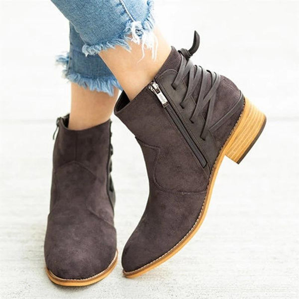 Retro Patchwork Pointy Toe Non-slip Back Lace-up Martin Boots