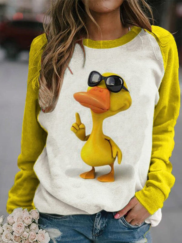 Little Yellow Duck Print Sweatshirt