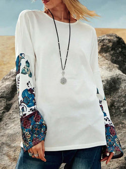 Colorblock Printed Sleeve Pullover Shirt Tops