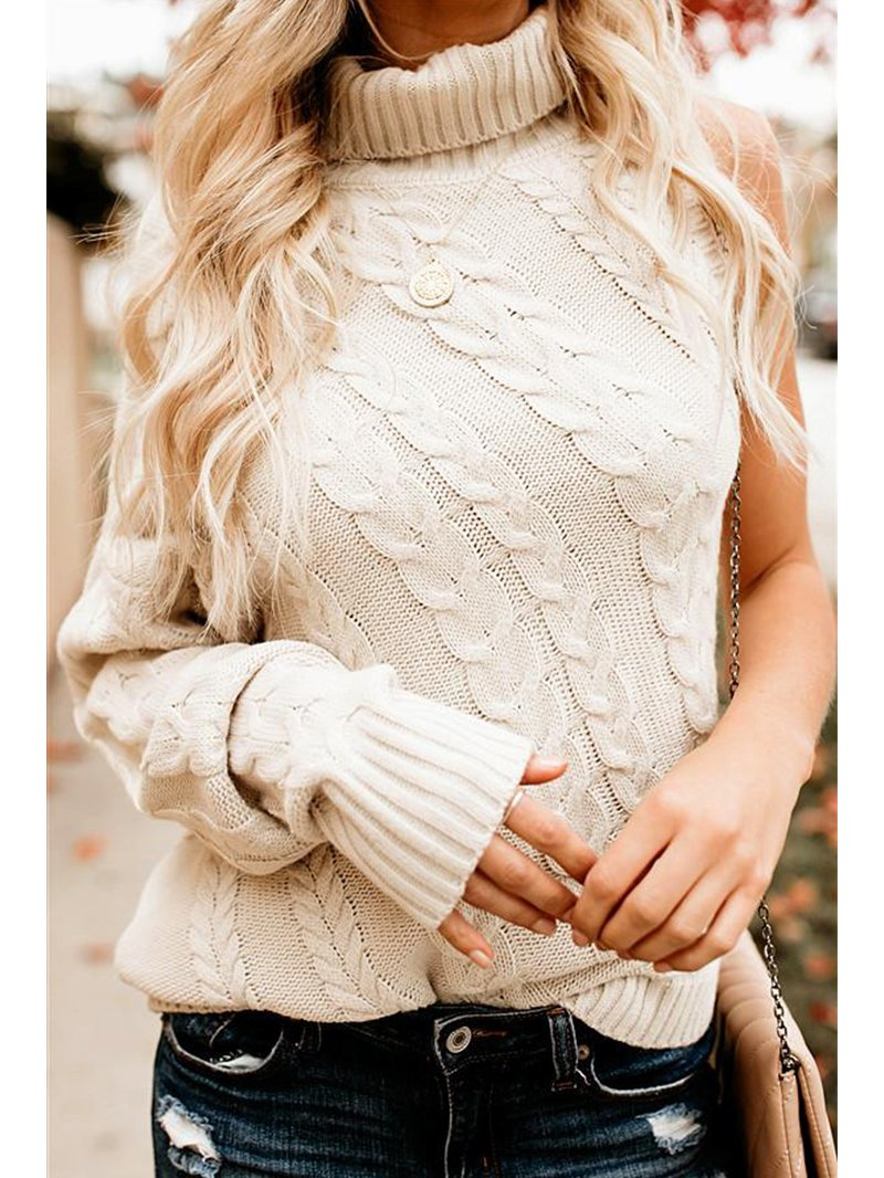 Fashion Sexy Strapless Single Sleeve Tall Neck Twist Sweater