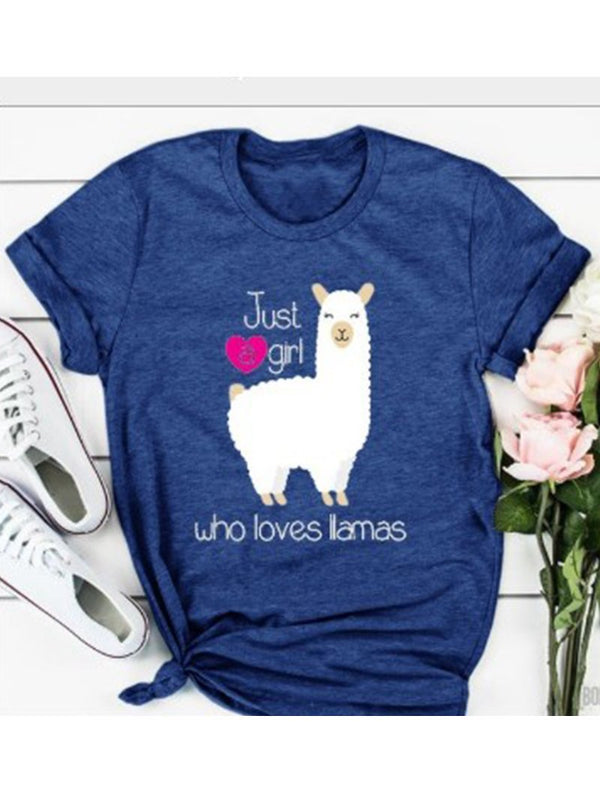 Llama print short-sleeved T shirt