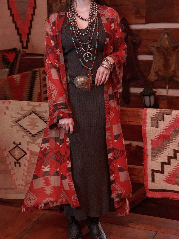 Western Vintage Geometric Pattern Loose Long Jacket