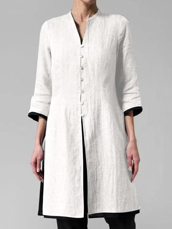 Solid Color Irregular Cotton and Linen Long Shirt