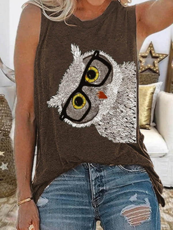 Owl Print Casual Large Tank Top