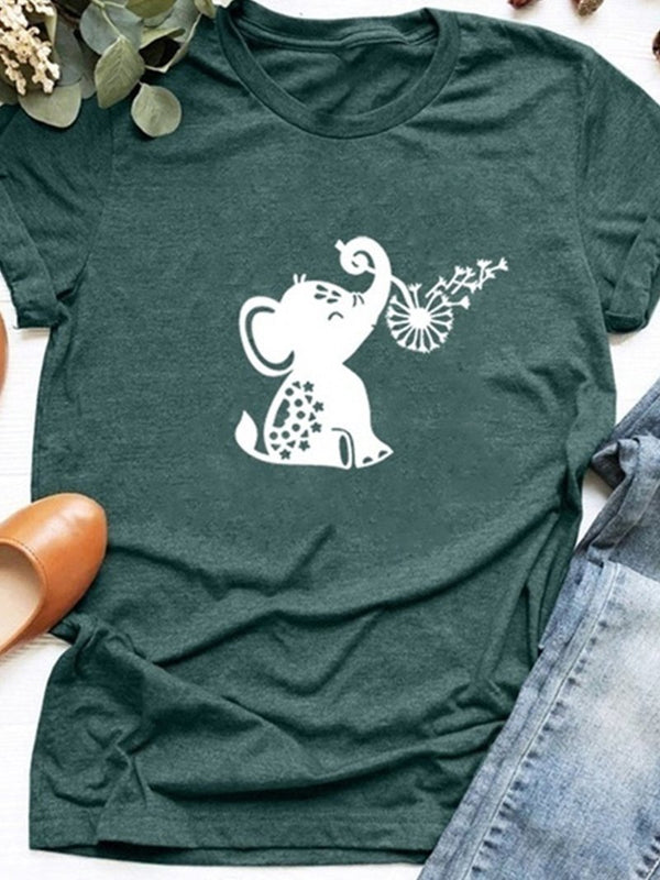 Cute Little Elephant Print Casual Short Sleeve T-shirt