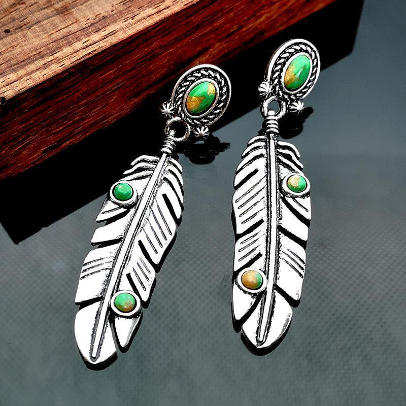 Vintage Turquoise Feather Earrings