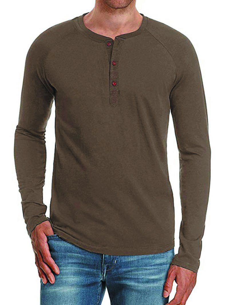 Button Raglan Solid Long-sleeved Bottoming Shirt